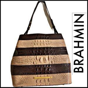 BRAHMIN BROWN & TAN STRIPED EMBOSSED CROCODILE BAG